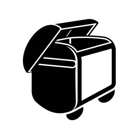 refuse bin: Monochromatic illustration of refuse bin Illustration