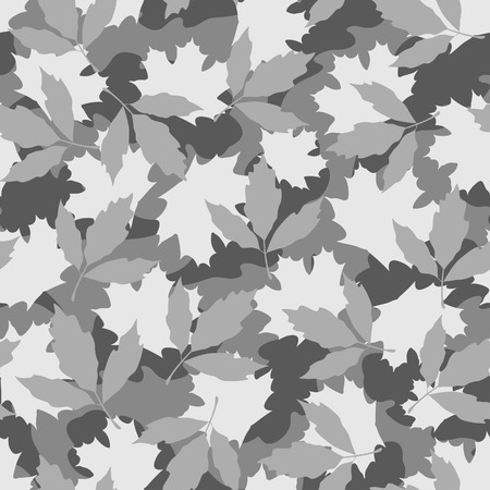 hues: Foliage camouflage seamless pattern in grey hues Illustration