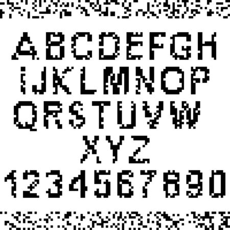 Corrupted upper-case pixel letters and numbers. Easy to edit to make your own font Vector
