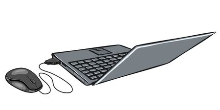 parting: Cartoon illustration of laptop and computer mouse