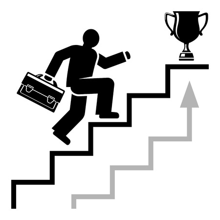 quickly: Abstract man quickly moves on career stairs towards his business success