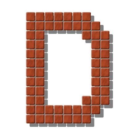 piedra laja: Letra D hecho de baldosas de piedra realistas