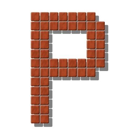 piedra laja: Letra P hecha de azulejos de piedra realistas
