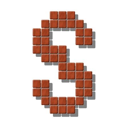 piedra laja: Letra S hecha de azulejos de piedra realistas Vectores