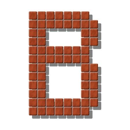 piedra laja: Letra B hecha de azulejos de piedra realistas Vectores