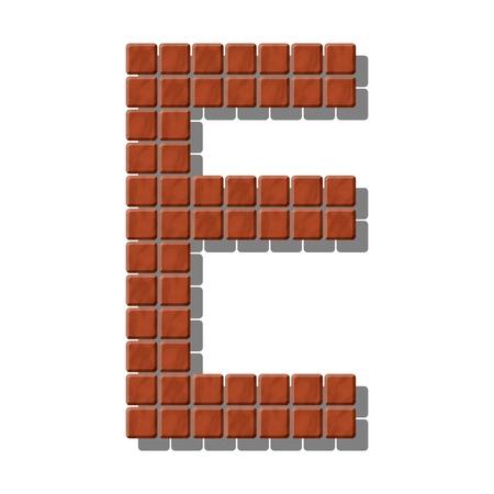 piedra laja: Letra E hecha de azulejos de piedra realistas
