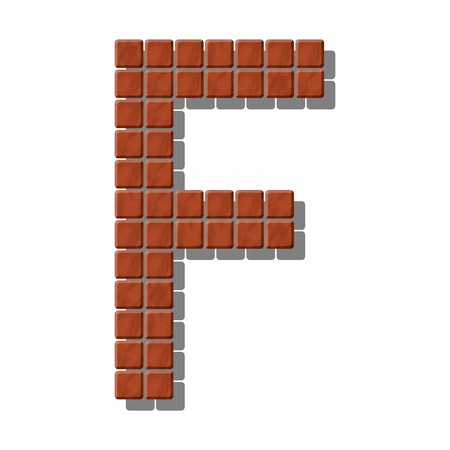 Letter F made from realistic stone tiles