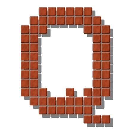 piedra laja: Letra Q hecho de baldosas de piedra realistas