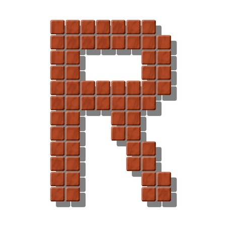 granite slab: Letter R made from realistic stone tiles