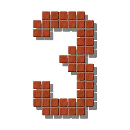 piedra laja: N�mero 3 hecha de azulejos de piedra realistas