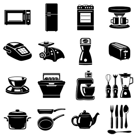 Monochromatic icons set of some kitchen utensils and appliances Illustration