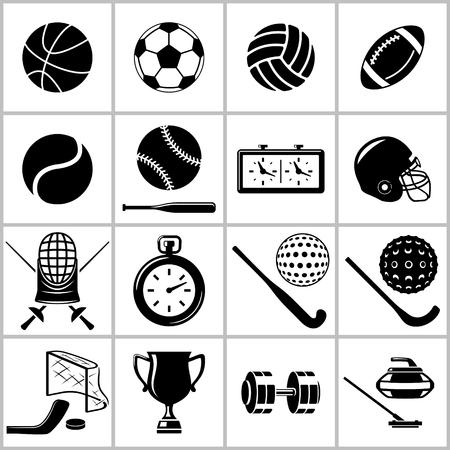 balones deportivos: Iconos monocromáticos conjunto de algunos artículos y material para los deportes