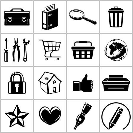 useful: Monochromatic set of useful web icons