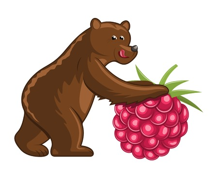 trundle: Funny cartoon bear with a giant raspbery fruit on white background