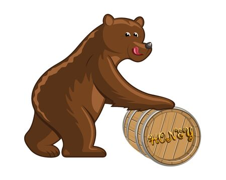 trundle: Funny cartoon bear with a big barrel of honey on white background
