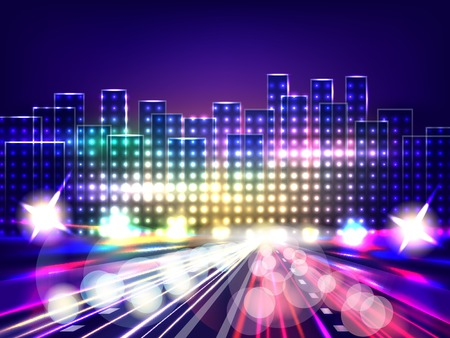 city background: Stylized night city road. Abstract background