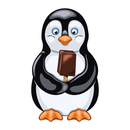 Joyful penguin holds chocolate ice cream in his wings Vector