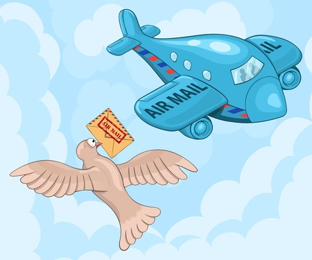 carrier pigeons: Amazed carrier pigeon meets air mail plane. Funny cartoon  illustration