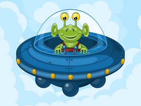 clincher: Smiling alien drives his UFO machine. Funny cartoon character
