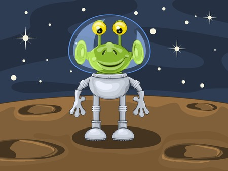 Funny cartoon alien in spacesuit above planetoid surface Illustration