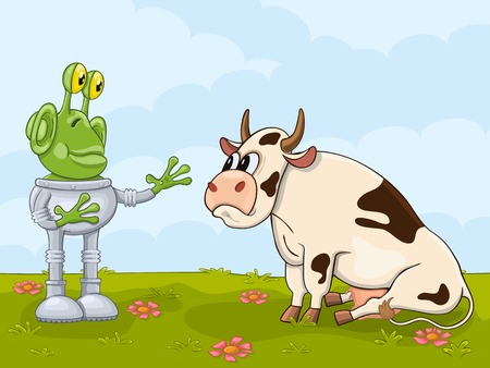 Amazed alien meets cow for the first time Illustration