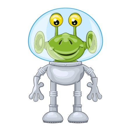 spacesuit: Funny cartoon alien in spacesuit on white background