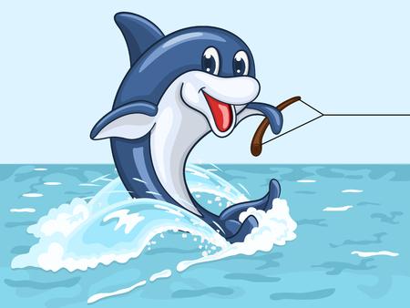 Dolphin: Mỉm cười cưỡi cá heo trên bề mặt biển trên đuôi của mình như trên waterskis Hình minh hoạ