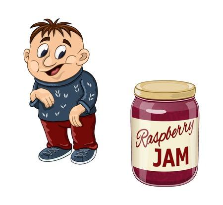 mermelada: Chico gordo divertido de la historieta hará listo para comer todo el tarro de mermelada de frambuesa