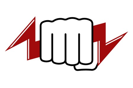force: Stylized tight fist holds lightning. Power and energy icon