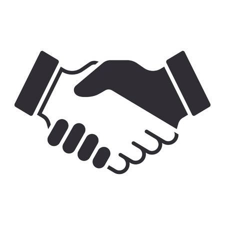 contracts: Handshake icon. Partnership and agreement symbol Illustration