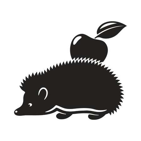 Hedgehog with apple. Monochromatic illustration