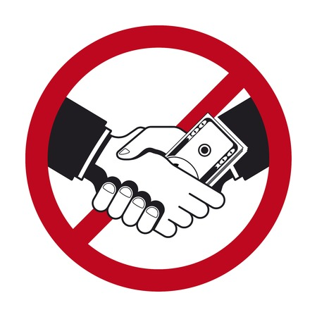 bribe: Handshake with bribe over prohibitive sign
