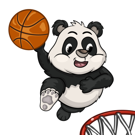 frisk: Funny cartoon little panda in a jump will ready to throw the ball into the basket Illustration