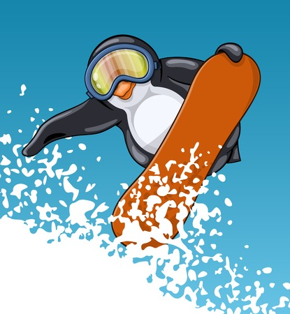 Fat penguin in protective spectacles makes breathtaking jump on the snowboard. Funny cartoon character