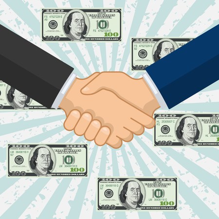 handclasp: Handshake over some flying dollar banknotes. Profit deal vector icon