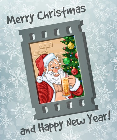 Selfie of merry and slightly drunk Santa Claus with glass of beer in hand. Frame of film on frosty background with greetings Illustration
