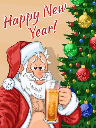 Selfie of merry and slightly drunk Santa Claus with glass of beer in hand Illustration