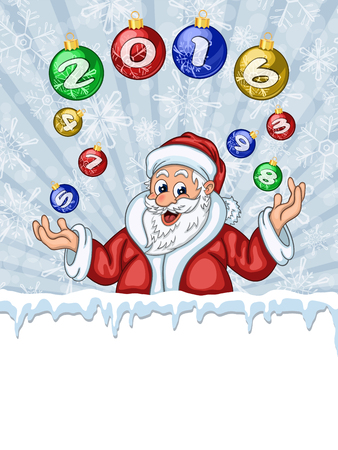 throw up: Funny Santa Claus juggling Christmas Tree decoration with 2016 numbers. With area for text