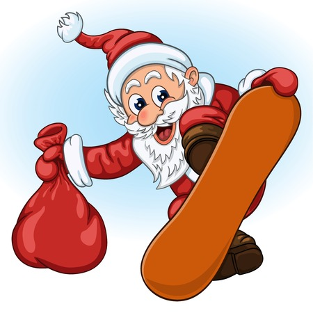 gift bag: Funny cartoon Santa Claus with gift bag in one hand makes breathtaking jump on the snowboard