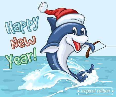 산타 클로스 모자 돌고래 웃는 수상 스키에 그의 꼬리에 바다 표면에 탄다. 따뜻한 바다에서 새해 인사말 카드 일러스트