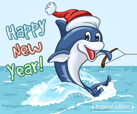 Smiling dolphin in Santa Claus cap rides on the sea surface on his tail as on water skis. New Year's greeting card from warm seas
