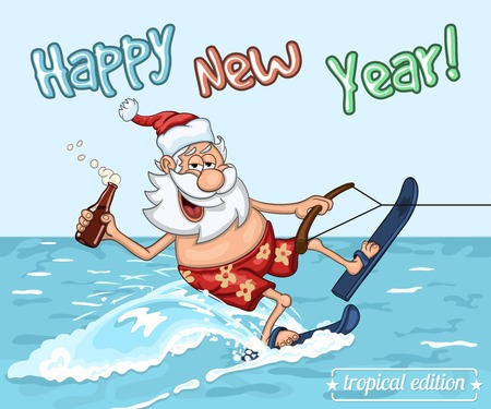 seas: Cartoon Santa Claus  rides on the sea surface on  water skis. New Years greeting card from warm seas Illustration