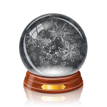 reflexion: Snowy glass ball with a snowflakes inside