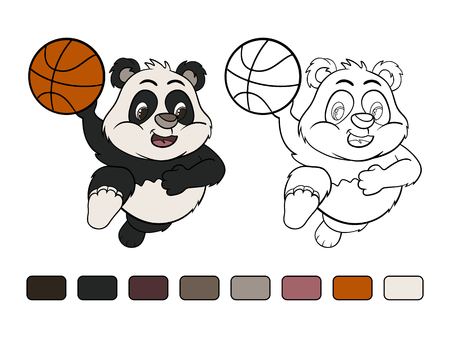 frisk: Funny cartoon little panda in a jump with  ball. Coloring book