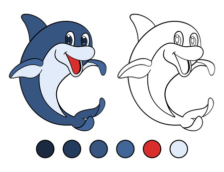 cetacean: Smiling dolphin stands on his tail. Coloring book Illustration