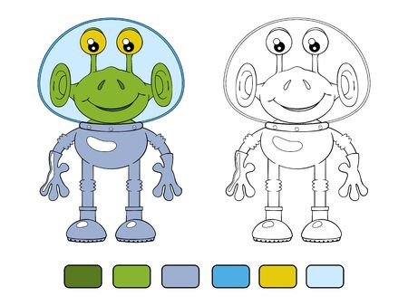 spacesuit: Funny cartoon alien in spacesuit. Coloring book Illustration