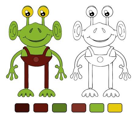extranjero divertido de dibujos animados. Libro de colorear
