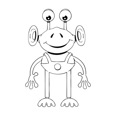 Black and white illustration of funny cartoon alien Illustration