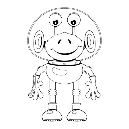 spacesuit: Black and white illustration of funny cartoon alien in spacesuit on white background Illustration