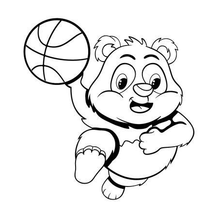 frisk: Black and white illustration of funny cartoon little panda in a jump with  ball. Illustration